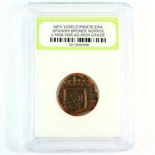 Pirate Era Full Date Bronze Nummis c. 1608 - 1695 A.D.