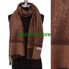 New Pashmina Coffee brown Paisley Floral Silk Wool Scarf Wrap Shawl Soft Warm#01