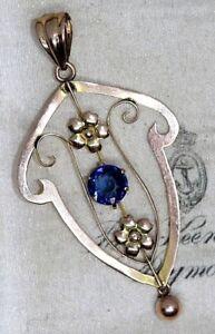 Edwardian Art Nouveau 9 ct gold sapphire blue paste stone pendent