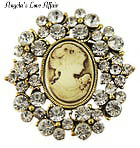 VINTAGE STYLE VICTORIAN ANTIQUE GOLD  CLEAR CRYSTAL DIAMANTE CAMEO BROOCH PIN
