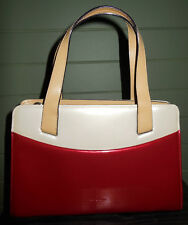 Red and beige small Amorni handbag patent finish VGC