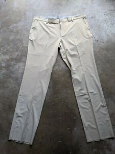 Adidas Mens 44x38 Biege Tan Flat Front Athletic Loose Fit Golfing Pants Poly