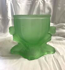 ART DECO WALTHER SOHNE LIME GREEN SATIN GLASS CANDY DISH  NUDE LADY  NO LID