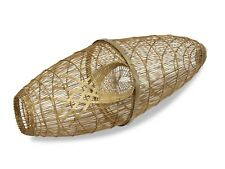 Thai fishing basket long oval style fish trap, Small 47cm x 18cm, Thailand Creel