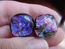 (DE22-3) Blue Purple red sparkle swirl Dichroic fused glass pierced earrings