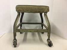 Vintage Industrial Stool Heavy Duty Metal Mechanics Cushion Seat Bassick Casters