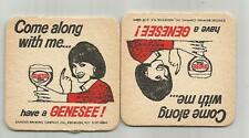 "Pair of 1960's Genesee Beer Coasters-""Come Along"" -Rochester, NY 3 1/2"" #016"