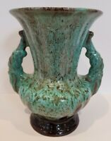 Scheurich Germany Style 200/22 Two Handled Vase Green/ Brown Lava Style Vintage