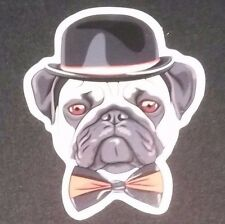 """PUG in Hat and Bow Tie Guitar Amp Bumper Sticker 2.5"""" Inch Dog Decal"""