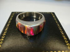 Ladies Contemporary Red Fire Opal & Sterling Ring 7 Sterling Silver 925 Pyramid