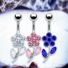 SALLY Flower Belly Button Rings Silver Navel Ring Crystal Belly Bars Floral UK