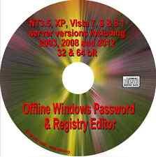 Réinitialisation de mot de passe windows, xp vista 7, 8, 8.1, NT3.5 Server 2003 2008 2012 boot cd