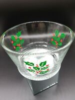 Christmas Holly Berry Ice Bucket Bowl VTG Indiana Glass Great for Popcorn Snacks