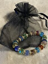"New Hand Made Rainbow Glass Beaded Bracelet  In Gift Bag 8""  Stretchy Glass Bead"