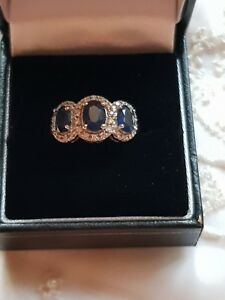 9 ct  Gold Triple Sapphire Diamond Cluster Ring