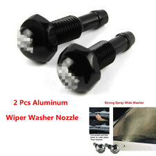 2Pcs Aluminum Black Car Hood Windshield Washer Wiper Water Spray Nozzle Kits
