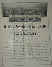 Metallwerke R.&G. Schmöle Menden Kreis Iserlohn 3 Seiten Werbeanzeige von 1925