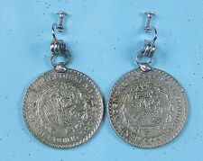 Vintage Large Earrings Made from Mexican Mexico 1963 Silver Coin