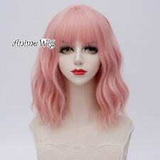 35CM Medium Women Synthetic Lolita Light Pink Curly Cosplay Heat Resistant Wig