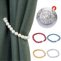 Faux Pearl Magnet Buckle Curtain Tieback Clip Window Strap Holder Home Decor