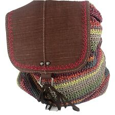 The Sak Handbag Brown Avalon Striped Convertible Crochet Backpack Bag Purse
