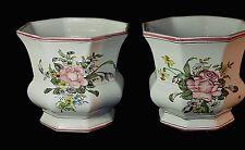 PAIR Vintage Moustiers Faience French Hand Painted Flower Bouquet Cache Pot