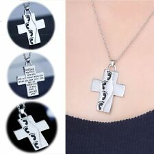 Silver Gifts Memory Chain Baby Footprints Cross Pendant Prayer Necklace