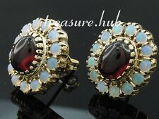 Superb Genuine 9K Gold Natural GARNET & OPAL Cluster Earrings Classic Large Stud