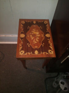 Italian inlaid marquetry small side table / music box (sewing, jewelry)