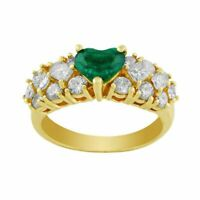 3.5ct Heart Cut Green Emerald 3 Row Diamond Engagement Ring 14K Yellow Gold Over