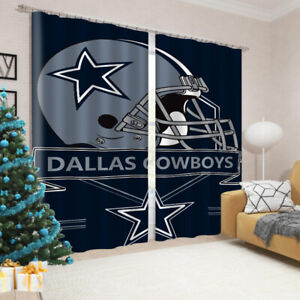 2PCS Dallas Cowboys Thermal Curtain Panel Living Bedroom Room Window Drapes Gift