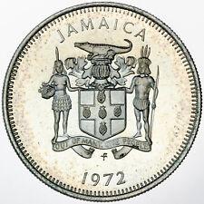 1972 JAMAICA 10 TEN CENTS PROOF UNC SUBTLE COLOR BU LIGHTLY TONED GEM (DR)