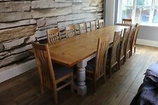 10,12 seater Dining Table, Chunky 44mm top, with 2 drawers, width 107cm. 3.7m