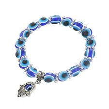 Blue Evil Eye Beaded Bracelets With Hand Of Fatima Charm Women Bangles Xmas Gift