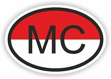 OVAL FLAG WITH MC MONACO COUNTRY CODE STICKER CAR MOTOCYCLE AUTO TRUCK