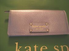 kate spade new designer SILVER Check Book WALLET  leather change purse authentic