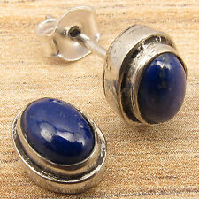 Natural LAPIS LAZULI Gems Small Stud Earrings 925 Silver Plated ! Christmas Gift