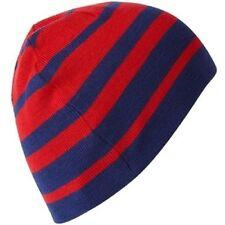 Linea Mode Rouge & Bleu Bloque Rayé Réversible Chapeau Bonnet Unisexe NEUF