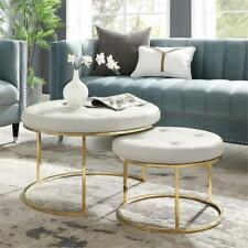 Aaden Tufted Pu Leather Nesting Ottoman Set of 2 White/Gold