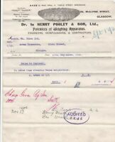 Henry Pooley & Son Ltd 1906 Glasgow Extra to Contract Audited Invoice Ref 41037