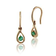 Emerald Drop/Dangle Not Enhanced Yellow Gold Fine Earrings