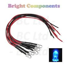 5x Flashing Pre-Wired Blue LED 5mm Ultra Bright : 9V ~ 12V : 1st CLASS POST