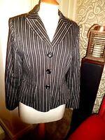 Marilyn Anselm for HOBBS 100% Cotton Black & White Stripe Jacket UK 12 Worn Once