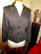 Marilyn Anselm for HOBBS 100% Cotton Black & White Stripe Jacket UK 12 Worn Once