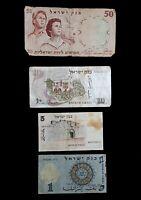 Lot of 4 Old Israel Banknotes '1, 5, 10 & 50 Lira Israeli pounds ' 1958-1973