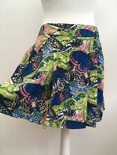 Fat Face Ladies Linen Blue Green Butterfly Casual Summer Pocket Flare Skirt 14