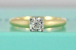 $8200 Tiffany & Co 0.50 Lucida 18K Yellow Gold Platinum Diamond Engagement Ring