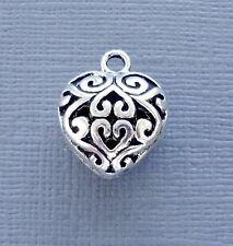 Lot 5 pcs Pendant Dangle Charm HEART Silver tone Jewelry finding DIY C105