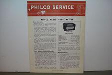 PHILCO RADIO SERVICE MANUAL MODEL 48-461 (8 PAGES)