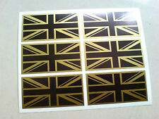 Union Jack Flag Black & Gold Set De 6 Uk GB coche Bumper Stickers Calcomanías De 50 Mm